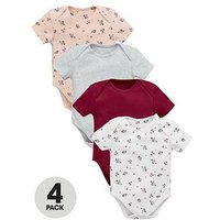 Mini V by Very Baby Girls 4pk Short Sleeved Floral Bodysuits, Multi, Size Age(Months): 9-12 Months