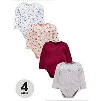 Mini V by Very Baby Girls 4pk Long Sleeved Floral Bodysuits, Multi, Size Age(Months): 3-6 Months