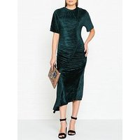 Kenzo Draped Velvet Midi Dress - Dark Green