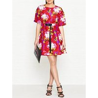 Kenzo Indonesian Flower Print Silk Belted Dress - Red
