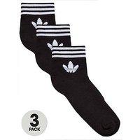 adidas Originals Trefoil Ankle Sock (3 Pack) - Black , Black, Size 2.5-5, Women