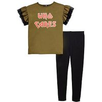 V by Very Girls 'Who Cares' Slogan T-shirt and Leggings Outfit, Grey, Size Age: 14 Years, Women