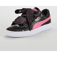 Puma Basket Heart Stars Junior Trainer, Black/Pink, Size 4