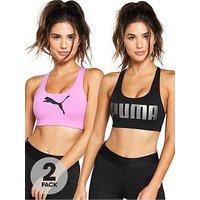 Puma Ace 4 Keeps Bra (2 Pack), Pink/Black, Size L/14, Women