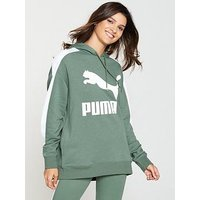 Puma Classics Logo T7 Hoodie - Green , Green, Size Xxs/6, Women