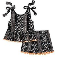 V by Very Girls Aztec Pom Pom Top And Short Outfit, Black, Size Age: 13 Years, Women