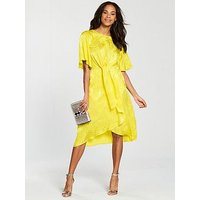 V by Very Knot Front Midi Dress, Yellow, Size 10, Women
