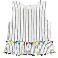 V by Very Girls Stripe Pom Pom Top, Multi, Size Age: 11 Years, Women