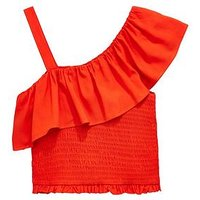 V by Very Girls Red Off The Shoulder Frill Top, Red, Size Age: 7 Years, Women