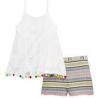 V by Very Girls Pom Pom Top & Short Outfit, Multi, Size Age: 8 Years, Women