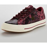 Converse One Star Leather Ox - Pink Animal Print, Pink, Size 4, Women