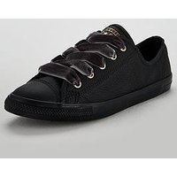 Converse Chuck Taylor All Star Dainty Leather Ox - Black , Black, Size 4, Women