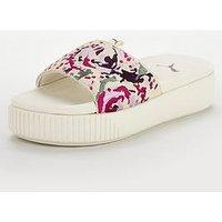 Puma Platform Slide Digital Embroidered Slider, White, Size 4, Women