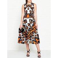 L.K. Bennett Andrea Geo Print Sleeveless Dress - Orange