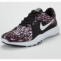 Nike Flex Trainer 8 Print - Black/White , Black/Silver, Size 5, Women