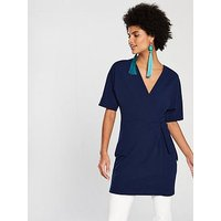 V by Very Tie Front Tunic - Navy, Navy, Size 10, Women
