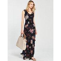 V by Very Frill Detail Jersey Maxi Dress - Print, Print, Size 12, Women