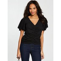 V by Very Ruched Angel Sleeve Top - Black, Black, Size 10, Women