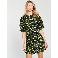 V by Very Double Frill Sleeve Dress, Print, Size 12, Women