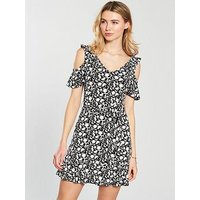 V by Very Cold Shoulder Tie Waist Dress - Mono Print, Mono Print, Size 24, Women
