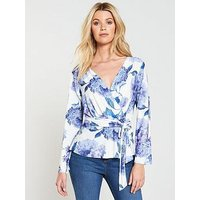 V by Very Wrap Crepe Top, Print, Size 12, Women