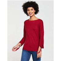 V by Very Long Sleeve Knot Tshirt, Red, Size 10, Women