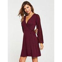 V by Very Lace Insert Wrap Jersey Dress - WIne, Wine, Size 18, Women