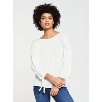 V by Very Long Sleeve Knot T-shirt - White, White, Size 14, Women