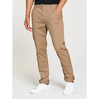 V by Very Slim Fit Stretch Chino, Tan, Size 36, Inside Leg Short, Men