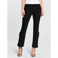 V by Very Fray Ruffle Back Hem Jean, Washed Black, Size 18, Women