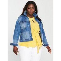 V by Very Curve Denim Jacket - Stone Wash , Stonewash, Size 22, Women
