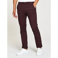 V by Very Slim Fit Stretch Chino, Dark Burgundy, Size 28, Inside Leg Regular, Men