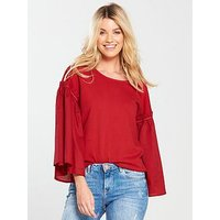 V by Very Volume Sleeve Mix T-Shirt - Red, Red, Size 16, Women
