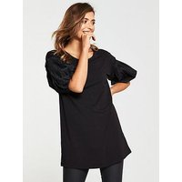 V by Very Ruffle Puff Sleeve Tunic - Black , Black, Size 12, Women
