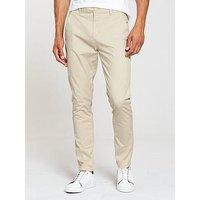 V by Very Tapered Stretch Chino, Stone, Size 38, Inside Leg Regular, Men