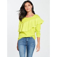 V by Very Frill Front Long Sleeve Top - Lime, Lime, Size 20, Women