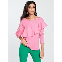 V by Very Frill Long Sleeve Top - Pink, Pink, Size 10, Women
