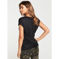 V by Very Drawstring Back Top - Black , Black, Size 16, Women