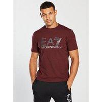 Emporio Armani EA7 Logo T-shirt, Burgundy Melange, Size 2Xl, Men