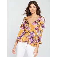 V by Very Floral Printed Jersey Peplum Top - Yellow, Yellow Print, Size 12, Women