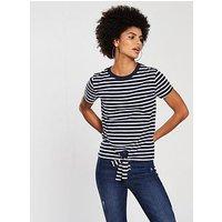 V by Very Tie Front Stripe Top - Navy/White, Navy/White, Size 20, Women