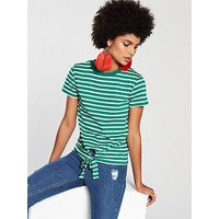 V by Very Tie Front Stripe Top - Green/White, Green/White, Size 24, Women
