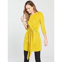 V by Very Tie Front Slinky Tunic, Mustard, Size 18, Women