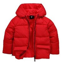 V by Very Girls Red Hooded Padded Coat, Red, Size Age: 8 Years, Women