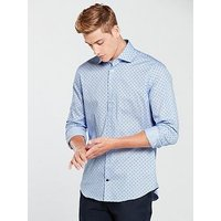 Tommy Hilfiger Dot Print Classic Shirt, Light Blue, Size 15, Men