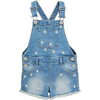 Mini V by Very Girls Embroidered Denim Short Dungaree, Denim, Size Age: 4-5 Years, Women