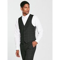 V by Very Slim Check Waistcoat, Charcoal, Size 42, Men