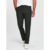 V by Very Slim Check Smart Trouser - Charcoal, Charcoal, Size 30, Inside Leg Short, Men