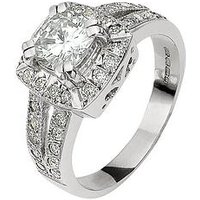 Moissanite MOISSANITE 18 CT WHITE GOLD 185 POINTS CUSHION SET RING WITH STONE SET SHOULDERS, Size L, Women