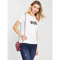 V by Very Oui Embellished T-Shirt - White , White, Size 24, Women
